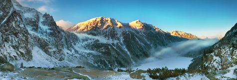 Panoramic sunset view of the Tatra mountains Royalty Free Stock Photography