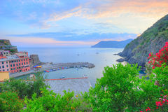 Panoramic sunset view to Vernazza village Stock Photo