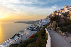 Panoramic sunset view of town of Imerovigli, Santorini island, Thira, Greece Stock Image