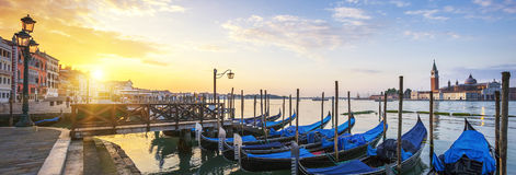 Panoramic surise, Venice. Sunrise over the Gran Canal, panoramic view, Venice, Italy Stock Image