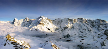 Panoramic Swiss Alps view Royalty Free Stock Photo