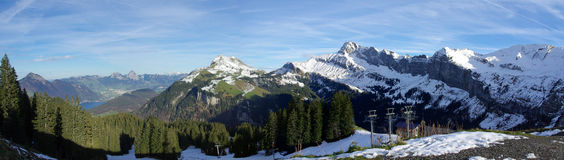 Panoramic Swiss mountains Stock Photography