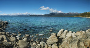 Panoramic Tahoe. Panoramic image of beautiful Lake Tahoe Stock Photography