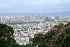 Panoramic of Taipei city skyline from Grand Hotel hill, Taiwan. stock photography