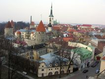 Panoramic Tallinn Oldtown Royalty Free Stock Images
