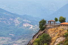 Panoramic terrace in Meteora Greece Royalty Free Stock Photography