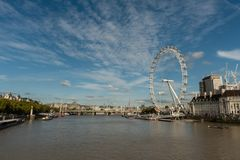 Panoramic Thames river vista in London in late October. Panoramic Thames river vista in London, England, in late October stock photography