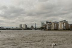 Panoramic Thames river vista in London in late October Royalty Free Stock Photo