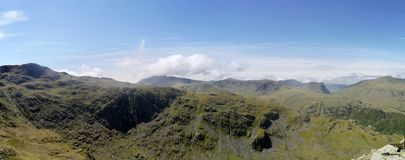 Panoramic of Thornythwaite Fell with Seatoller Fell behind Royalty Free Stock Photography
