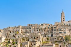 Panoramic of tipical stones and church of Matera Royalty Free Stock Photo
