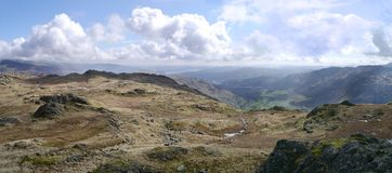 Panoramic to distant Windermere, Lake District Stock Photo