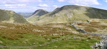 Panoramic to Fairfield, Lake District Stock Photo