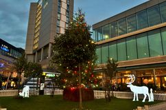 A panoramic view to the  London Stratford shopping centre Westfield during Christmas period by night. Royalty Free Stock Photography