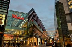A panoramic view to the  London Stratford shopping centre Westfield during Christmas period by night. Royalty Free Stock Images