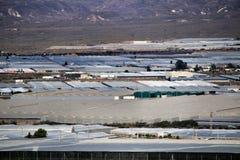 Panoramic of tomato greenhouses in Cabo de Gata, Almeria stock photos