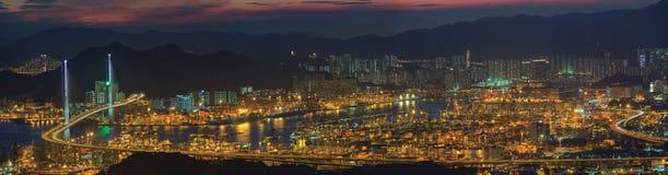 Panoramic top view of Hong Kong harbor Royalty Free Stock Photography