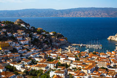 Panoramic top view of Hydra island in the Aegean sea Royalty Free Stock Photography
