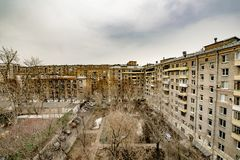 Panoramic top view of the new residential areas of Moscow on a steam winter day. Panoramic top view of the new reential areas of Moscow on asteam winter day stock image