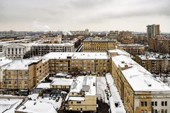 Panoramic top view of the new residential areas of Moscow on a steam winter day. Panoramic top view of the new residential areas of Moscow on asteam winter day stock photography