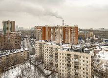 Panoramic top view of the new residential areas of Moscow on a steam winter day. Panoramic top view of the new residential areas of Moscow on asteam winter day stock image