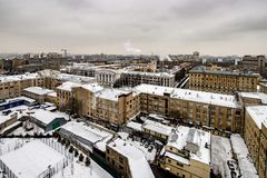 Panoramic top view of the new residential areas of Moscow on a steam winter day. Panoramic top view of the new residential areas of Moscow on asteam winter day royalty free stock photos