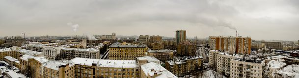 Panoramic top view of the new residential areas of Moscow on a steam winter day. Panoramic top view of the new residential areas of Moscow on asteam winter day stock images