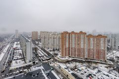 Panoramic top view of the new residential areas of Moscow on a steam winter day. Panoramic top view of the new residential areas of Moscow on asteam winter day royalty free stock photography