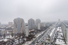 Panoramic top view of the new residential areas of Moscow on a steam winter day. Panoramic top view of the new residential areas of Moscow on asteam winter day stock photos