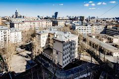 Panoramic top view of the new residential areas of Moscow on a sunny day.  stock images