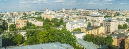 Panoramic top view of the new residential areas of Moscow on a sunny day.  royalty free stock photos