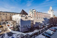 Panoramic top view of the new residential areas of Moscow on a sunny day.  royalty free stock photography