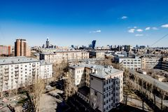 Panoramic top view of the new residential areas of Moscow on a sunny day.  stock photography
