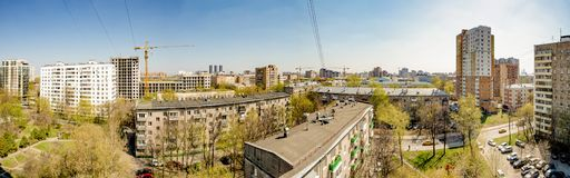 Panoramic top view of the new residential areas of Moscow on a sunny day.  royalty free stock image