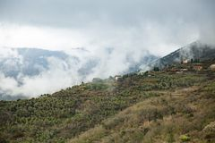 Free Panoramic Top View Of Alps Mountains In Fog And Clouds Royalty Free Stock Photo - 138031265