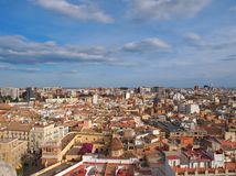 Panoramic top view of Valencia city in Spain from valencian tower. Landscape with Valencia city in Spain Stock Photos