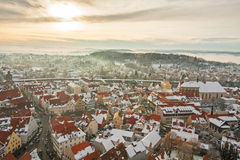 Panoramic top view on winter medieval town within fortified wall. Nordlingen, Bavaria, Germany. Stock Image
