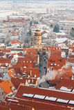 Panoramic top view on winter medieval town within fortified wall. Nordlingen, Bavaria, Germany. Royalty Free Stock Photo
