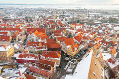 Panoramic top view on winter medieval town within fortified wall. Nordlingen, Bavaria, Germany. Stock Photos