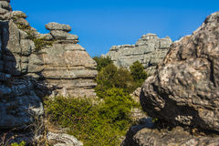Panoramic Torcal de Antequera 8. The Torcal Natural Park of Antequera contains one of the most impressive examples of karst landscape in Europe and owes its name Royalty Free Stock Photo