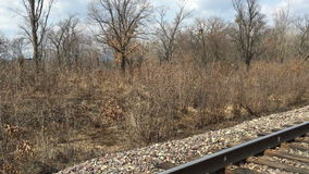 Panoramic traveling on the railroad stock video footage