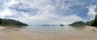 Panoramic tropical beach Stock Photos