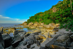 Panoramic tropical beach with coconut palm. Koh Samui, Royalty Free Stock Images