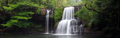 Panoramic tropical waterfall scenery. Panorama of the Khlong Chao waterfall in Ko Kood island, Thailand Stock Images