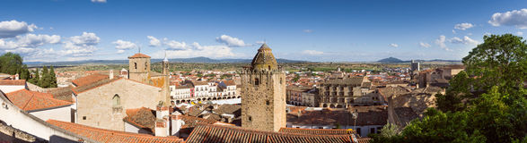Panoramic of Trujillo. Panoramic view of the medieval town of Trujillo, Caceres, Extremadura Stock Photo