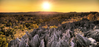 Panoramic Tsingy sunset Stock Image