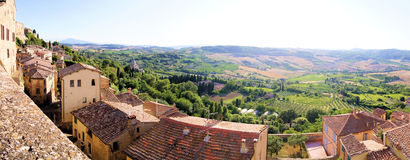Panoramic Tuscan view. Panoramic view over the landscape of Tuscany from the hill town of Montepulciano Stock Photo