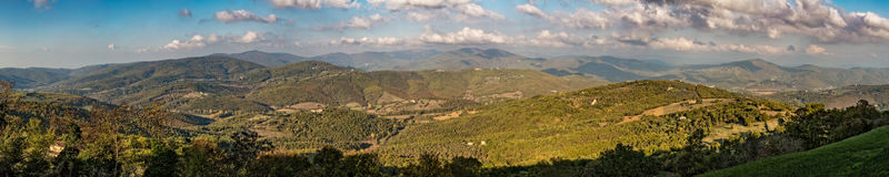 Panoramic of Umbrian hills in Italy taken from Preggio Royalty Free Stock Photography