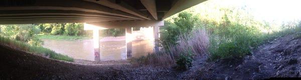 Panoramic of under the bridge stock photos