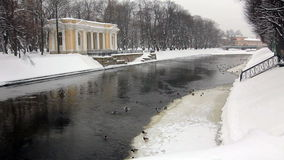 Panoramic of Unfrozen Moika river, St Petersburg. Panorama of Unfrozen Moika river and the park of the Russian Museum in winter, St. Petersburg, Russia stock video