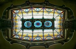 A panoramic upward view of the amazing stained glass ceiling of the Grand Hotel in Mexico City royalty free stock images
